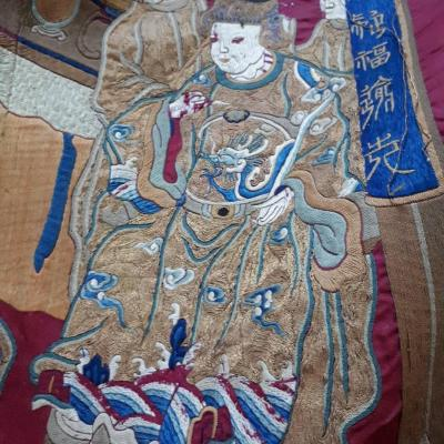 Large Chinese Embroidered Silk Wall Panel 19th