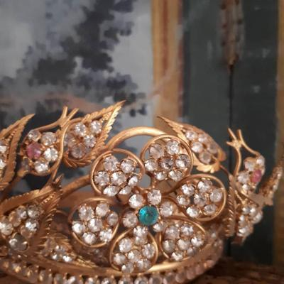 19th Century Brass And Rhinestone Crown For Statue