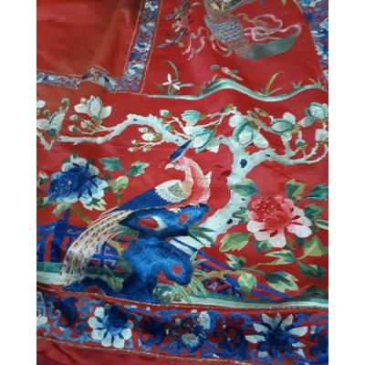 Large embroidered silk wall hanging<br />