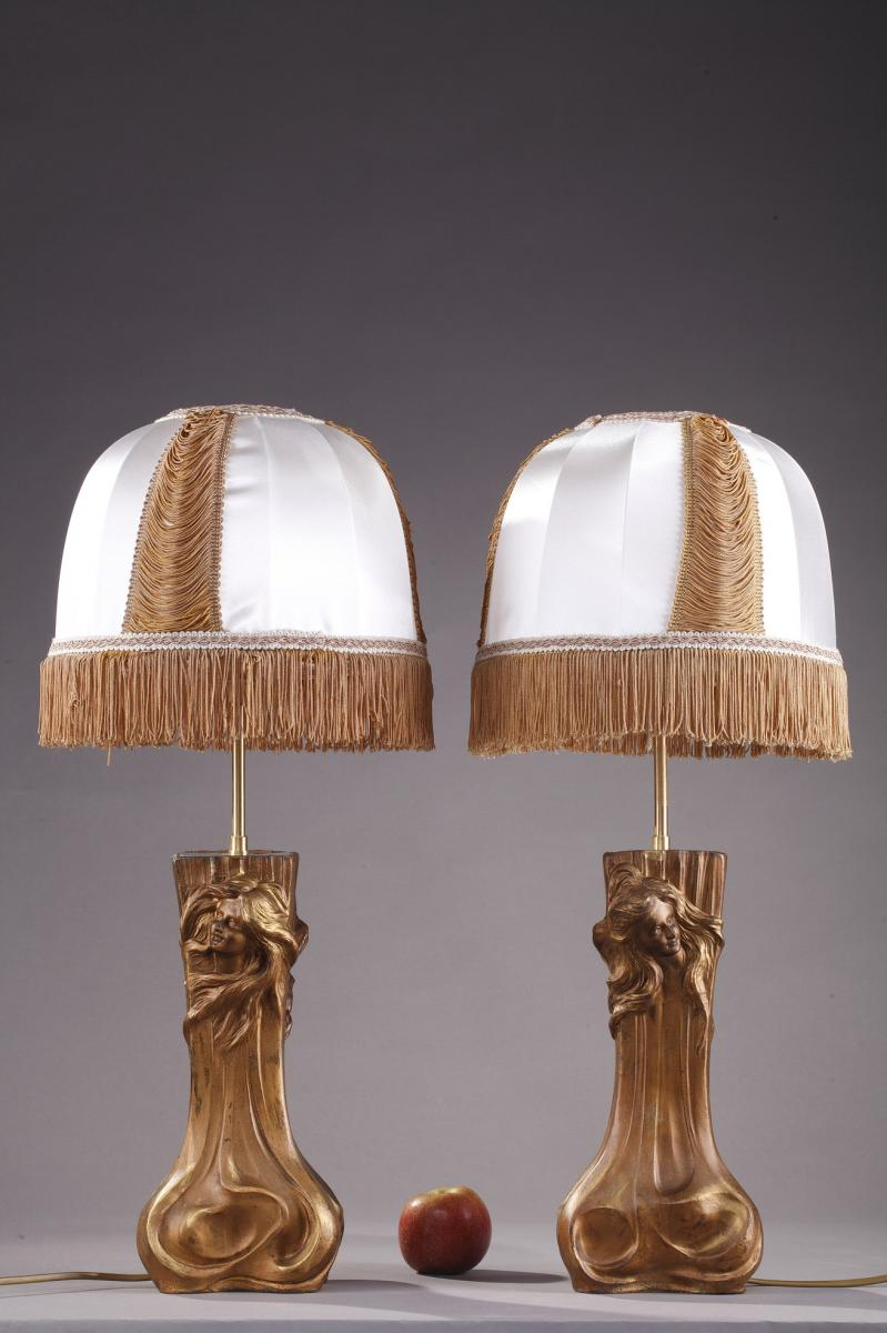 Two Art Nouveau Gilt Metal Mounted Lamps With Nymphs