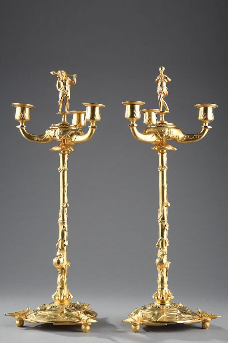 Bougeoirs Chandeliers Naturalistes En Bronze Doré Dans Le Goût d'Auguste Cain