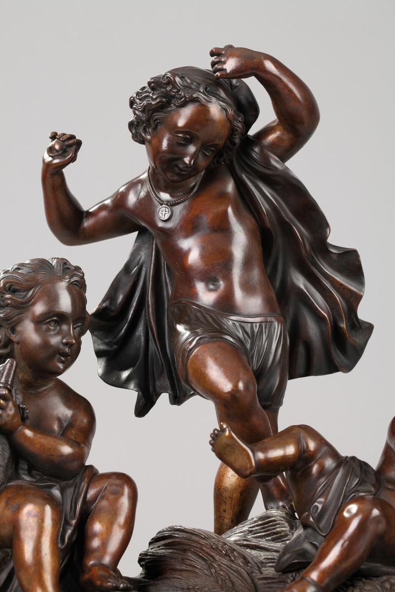 Amours Musiciens En Bronze Patiné Et Marbre, XIXe Siècle-photo-3