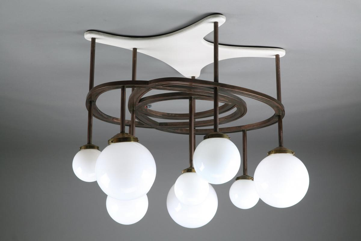 Lacquered Wood, Copper And Opaline Chandelier By Yves Faucheur (1924-1985)