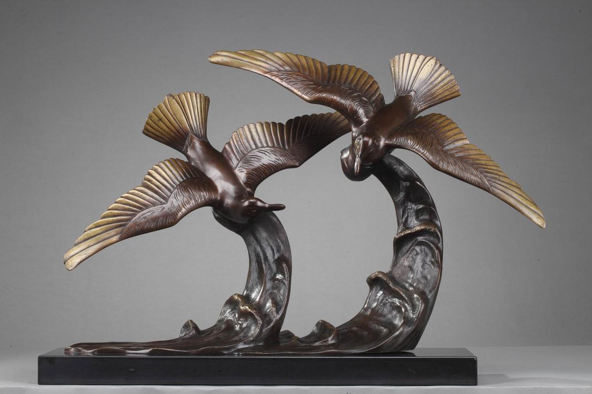 """Épreuve En Bronze """"deux Mouettes Sur Une Vague"""" d'Enrique Molins"""