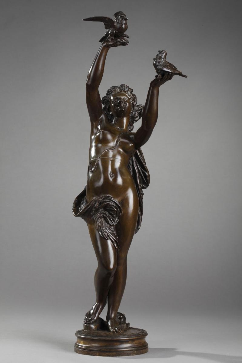 """Bronze """"Femme aux colombes"""" de Charles-Alphonse Gumery"""