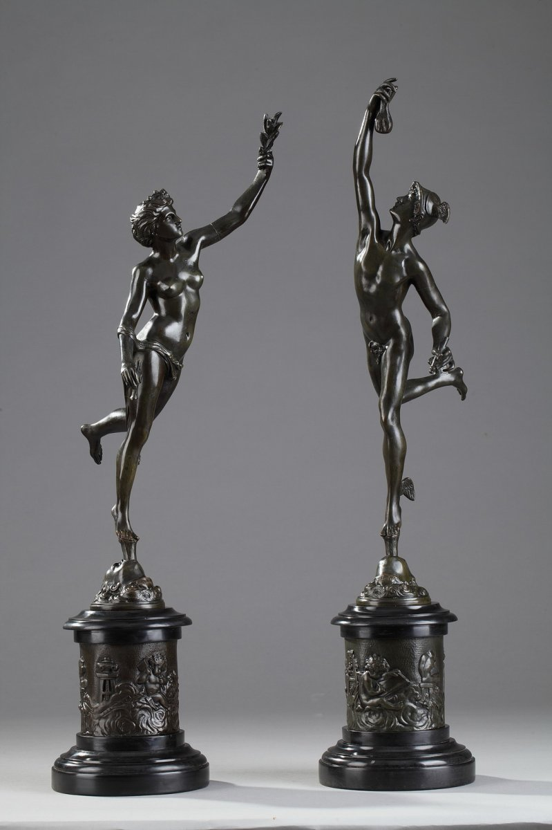"""Paire de sculptures """"Mercure"""" et """"Fortune"""" d'après Jean de Bologne"""