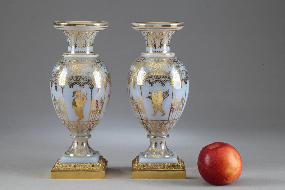Vases En Opaline Restauration à Décor Desvignes-photo-2