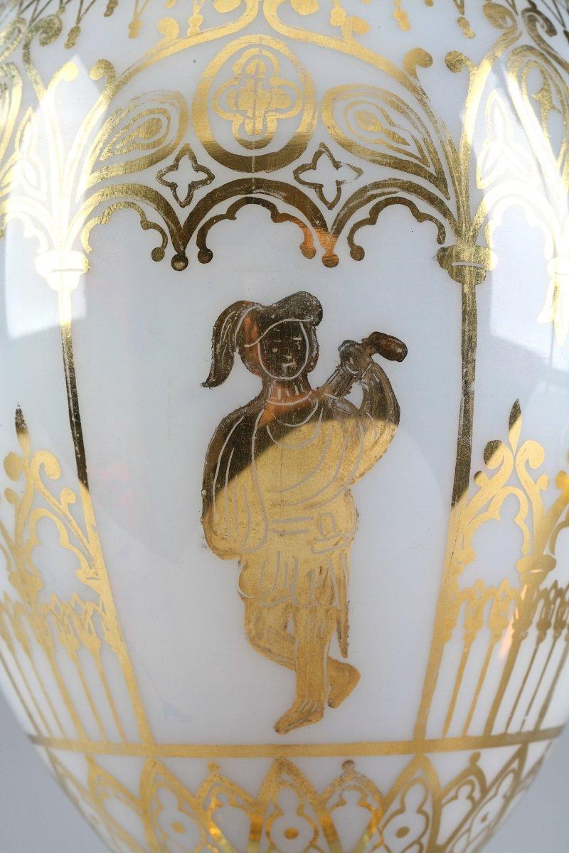 Vases En Opaline Restauration à Décor Desvignes-photo-3