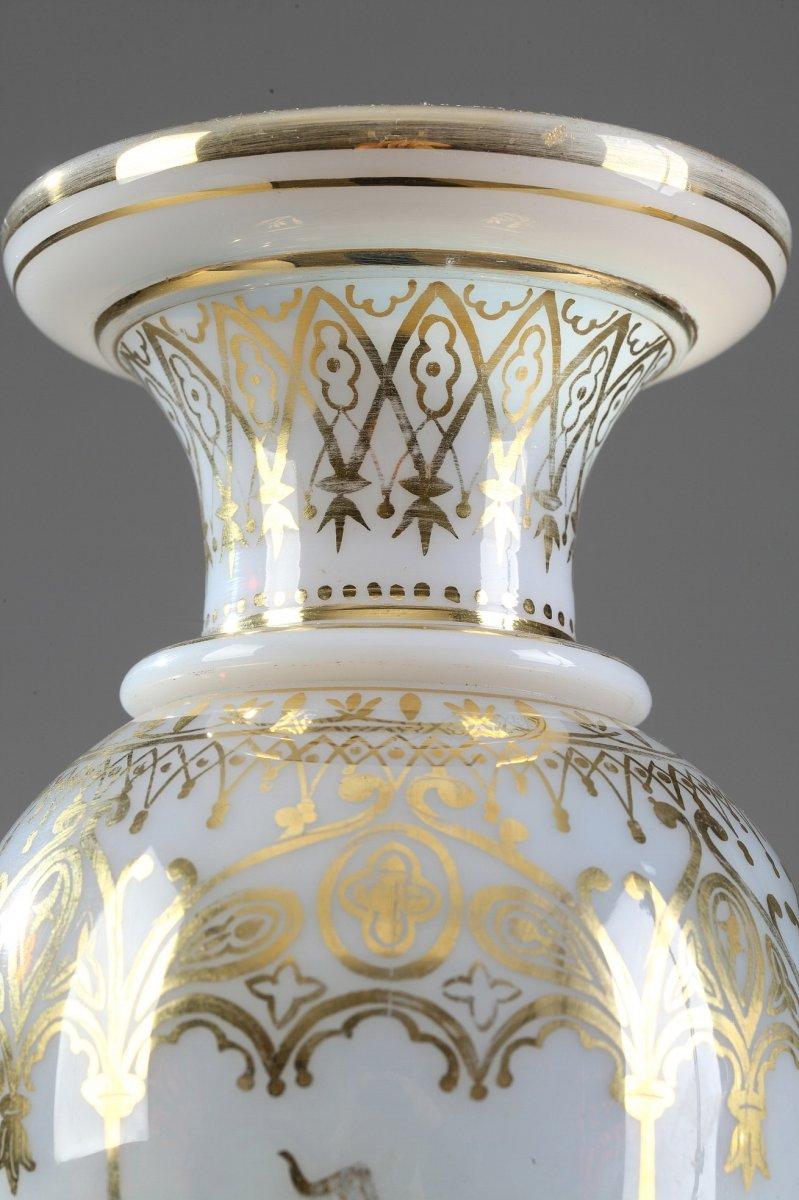 Vases En Opaline Restauration à Décor Desvignes-photo-1