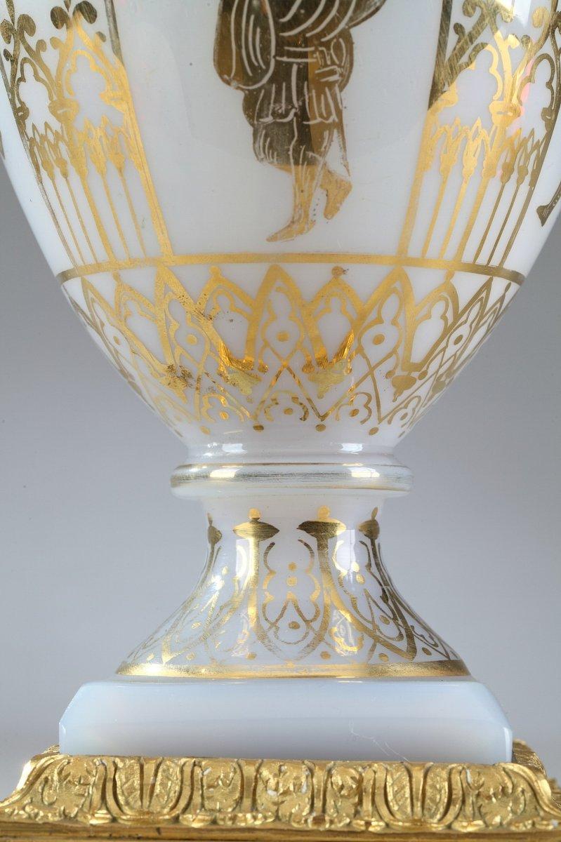 Vases En Opaline Restauration à Décor Desvignes-photo-5