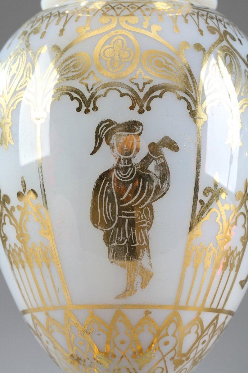 Vases En Opaline Restauration à Décor Desvignes-photo-6