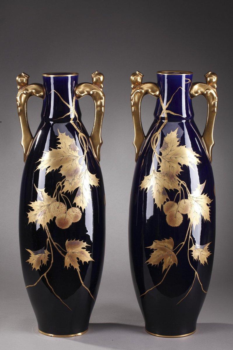 Gustave Asch Blue Ceramic Vases