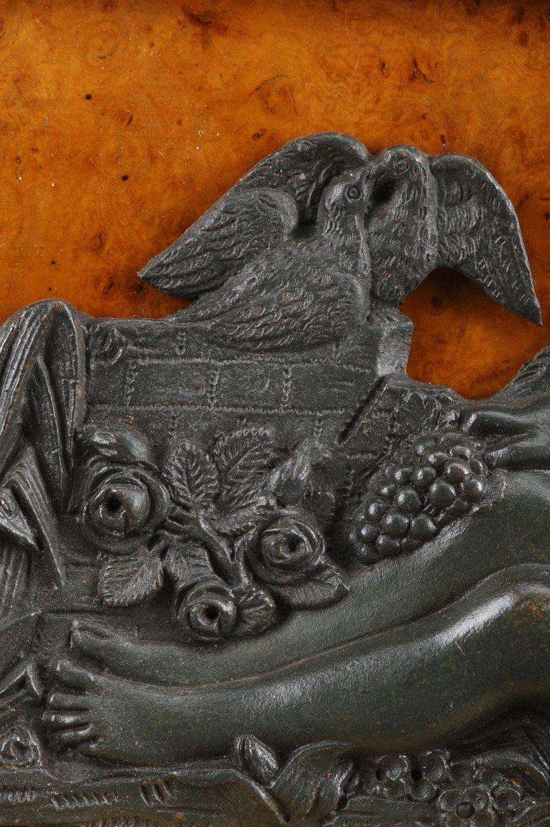Grande Pendule Lyre En Loupe d'Orme Et Bronze-photo-3