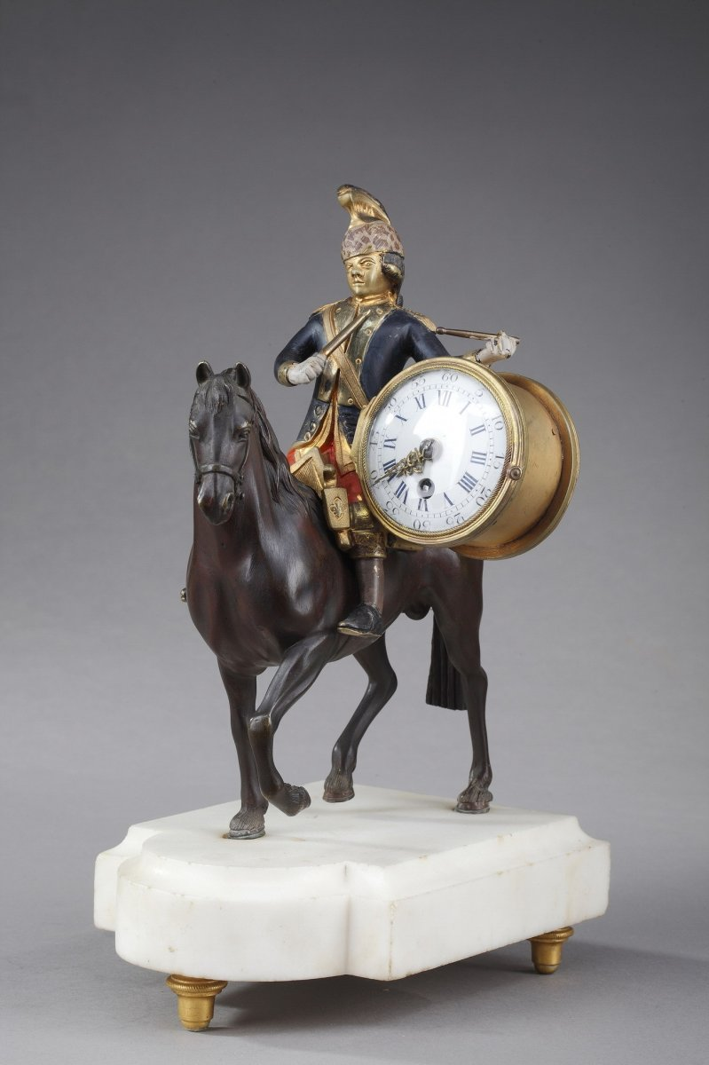 Louis XVI Clock: Soldier On Horseback, 18th Century Period