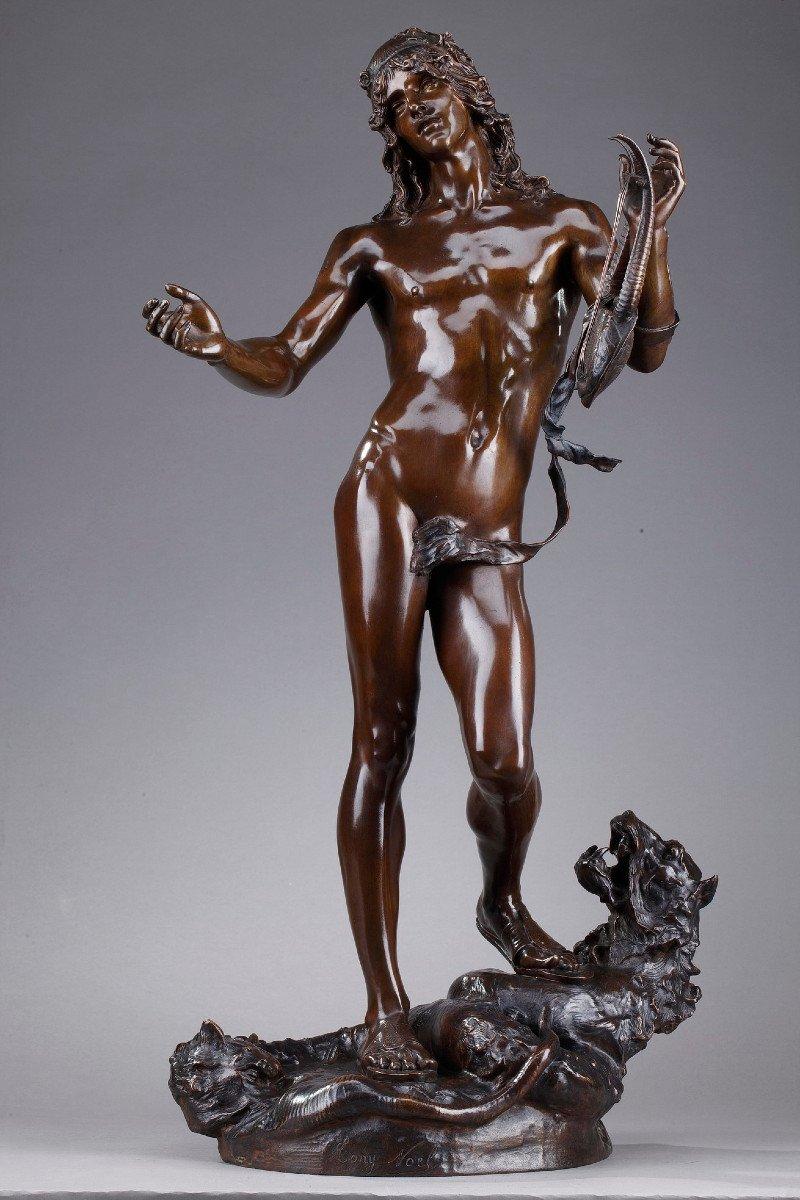 Statue En Bronze : Orphée Et Cerbère, Par Edme Antony Paul Noël (1845-1909)
