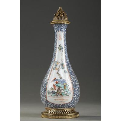 Flacon De Parfum Ancien: Fiole à Opium En Porcelaine Et émail, Manufacture Samson