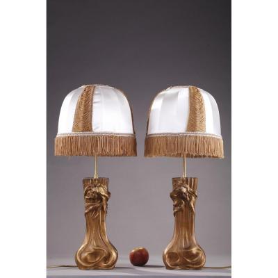 """Deux Vases Art Nouveau """"aux Nymphes"""" Montés En Lampes De Chevet"""