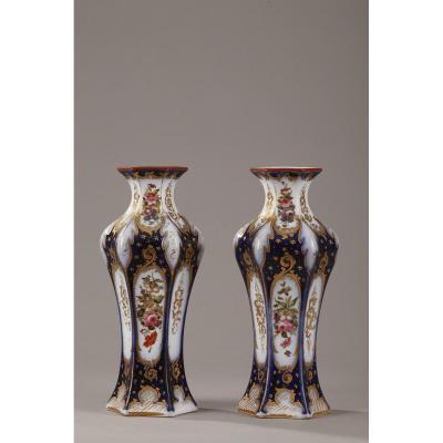 Paire De Vases Napoléon III En Porcelaine