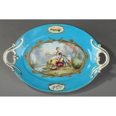 Coupe En Porcelaine Bleue Dans Le Style De Sèvres, XIXe Siècle