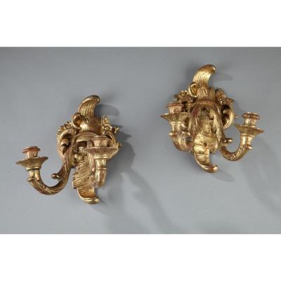 Appliques Anciennes à 2 Lumières En Bois Doré d'époque Louis XV