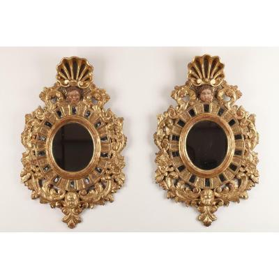 Paire De Miroirs En Bois Doré De Style Vénitien