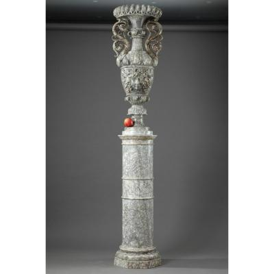 Large Louis-philippe Alabaster Pedestal With Urn