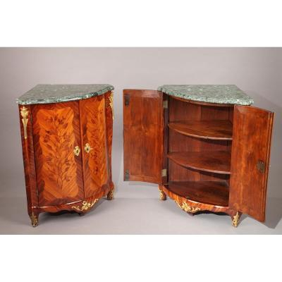 Pair Of 18th Century Louis XV Corner Cabinets