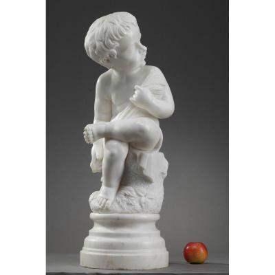 """Sculpture En Marbre Blanc """"putto Aux épis De Blé"""""""
