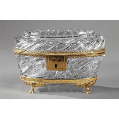 Coffret A Bijoux En Cristal Taillé Et Bronze Doré d'époque Charles X