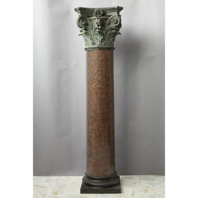 Importante Colonne En Granit Et Bronze De Style Néoclassique