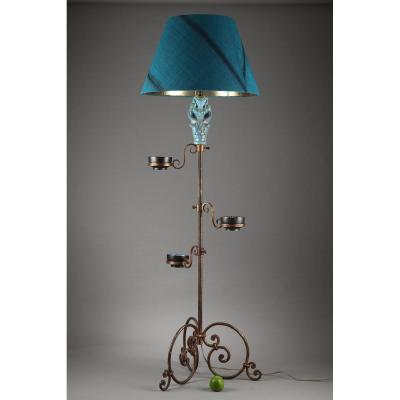 Tripod Lampstand With Blue Ceramic Figure