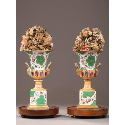 Vases Médicis En Porcelaine d'époque Louis-philippe