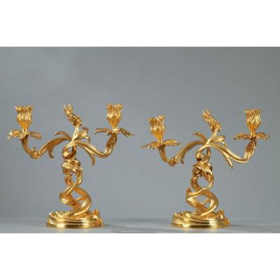 Paire De Bougeoirs En Bronze Doré De Style Louis XV