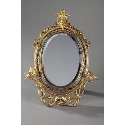 Miroir à Cadre Doré En Bronze Orné d'émaux Cloisonnés
