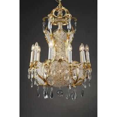 Ten-light Ormolu And Crystal Basket-shaped Chandelier