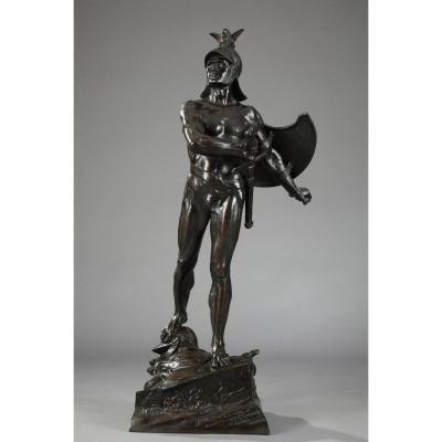 """Sculpture en bronze """"Le guerrier"""" d'Auguste de Wever"""