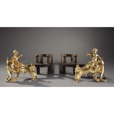 Paire De Chenets En Bronze Doré d'époque Louis XV