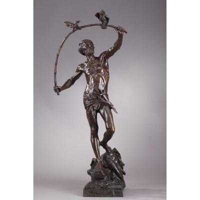 """Grand bronze """"L'Oiseleur Indou"""" d'Auguste de Wever"""