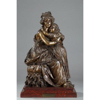 Bronze d'Après l'Autoportrait De Madame Vigée-lebrun Avec Sa Fille, Julie