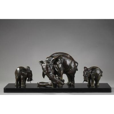"Bronze Statue ""elephant With Its Two Baby Elephants"" By Ulisse Caputo"