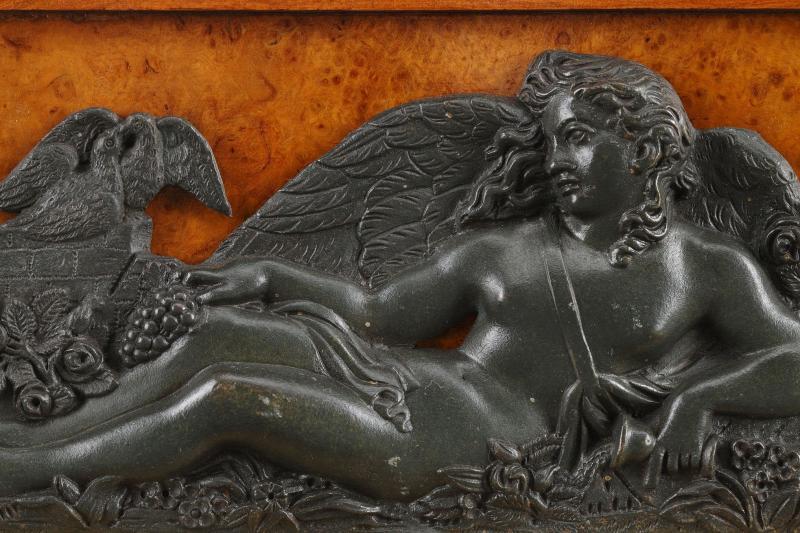 Grande Pendule Lyre En Loupe d'Orme Et Bronze-photo-2