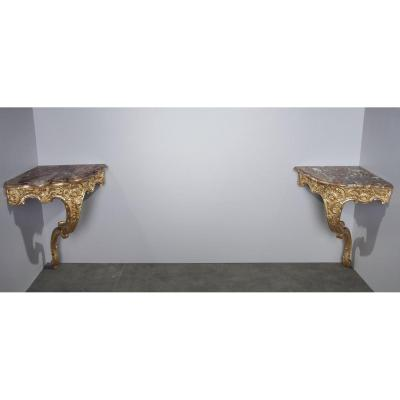 Louis XV-style Corner Consoles, Set Of 2
