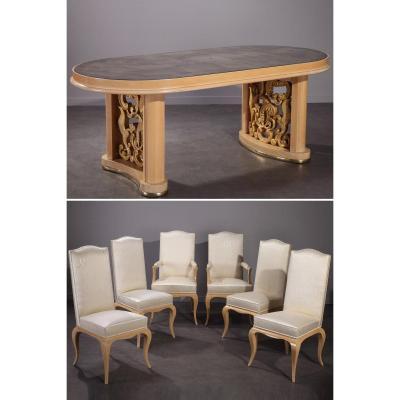 Ensemble De Salle A Manger : Table, 4 Chaises Et 2 Fauteuils