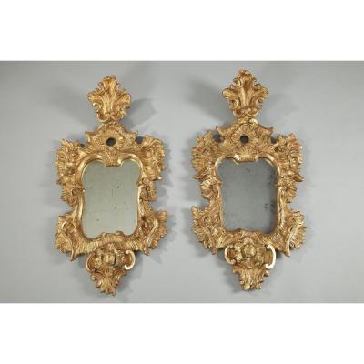 Miroirs Vénitiens Rococo En Bois Doré, époque XVIIIe Siècle