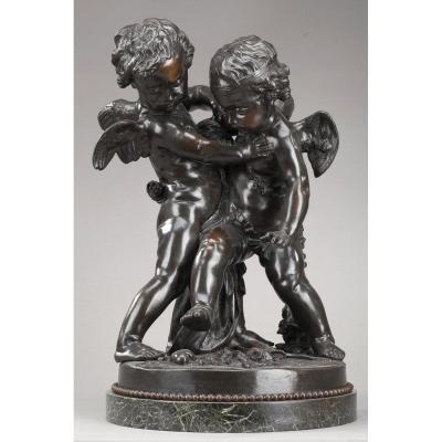 Groupe En Bronze : Deux Amours Se Disputant Un Cœur