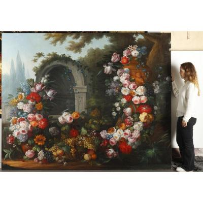 Very Large Still Life With Flowers After Gaspare Dei Fiori (1667-1732)