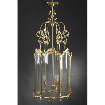 Grande Lanterne De Style Louis XV En Bronze Doré
