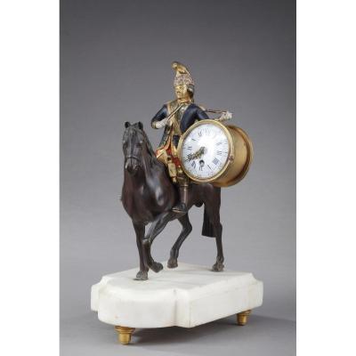 Pendulette Louis XVI : Soldat à cheval, fin du XVIIIe siècle