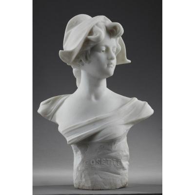 Buste En Marbre Cosette Avec Bonnet Phrygien De Marianne