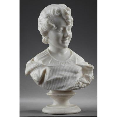 Sculpture En Albâtre : Buste De Jeune Fille, XIXe Siècle